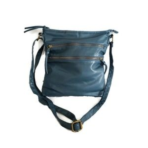 Bueno blue cross body with front zippers